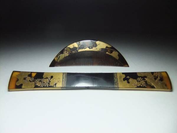 ◆江戸期 本鼈甲 金蒔絵 花鳥図 櫛 笄 アンティ