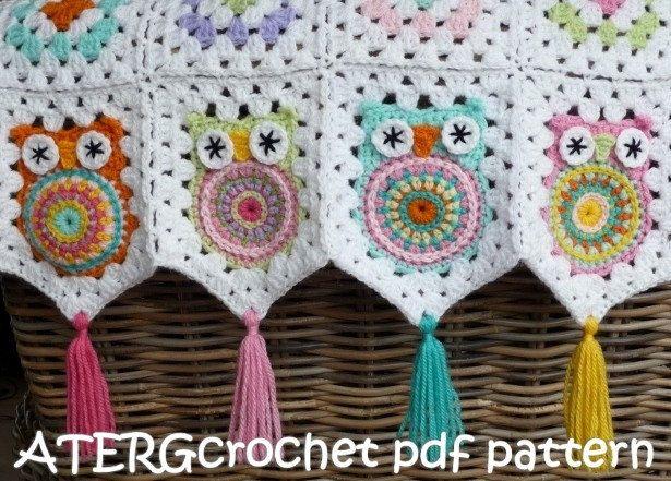 Crochet pattern owl granny square by ATERGcrochet. €2.95, via Etsy.