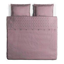 IKEA - VINRANKA, Funda nórd y 2 fundas almohada, 240x220/50x60 cm, , La ropa de cama de satén de algodón es muy suave y agradable, y tiene un brillo que le da un aspecto muy bonito.La ropa de cama de algodón cepillado tiene una textura lisa y un tacto suave.Los corchetes a presión ocultos mantienen el edredón en su sitio.
