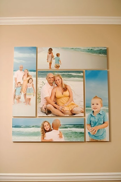 Instead of one large single picture why not make your own photo collage? Simple go to staples and order canvas prints in different sizes then add them in the shape and order you want on your own living room wall. Neat idea!