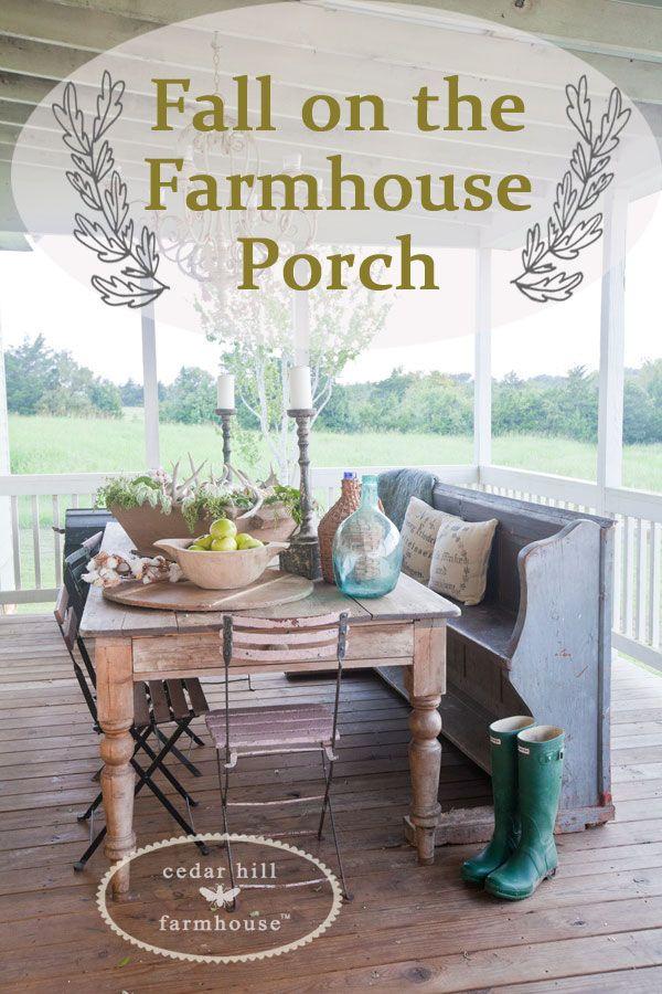 Fall on the Farmhouse Porch from Cedar