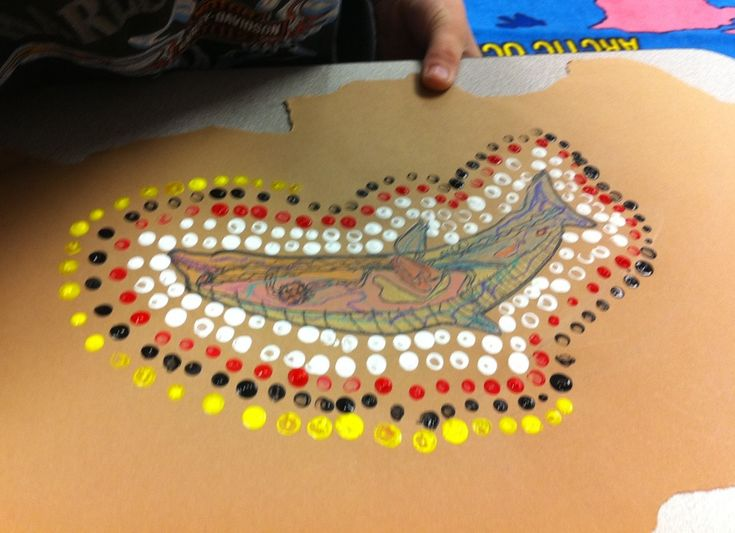 Art lesson - 'bark' art on brown paper. Using x-ray art indicative of indigenous artworks