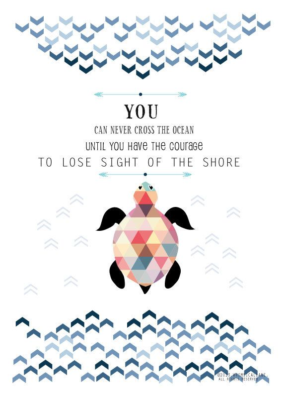 Inspirational Quote Art Print, Typographic Illustration with Geometric Turtle A3