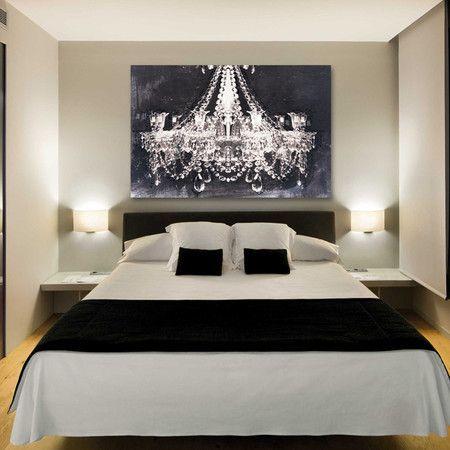 Idee voor de slaapkamer: rust,eenheid en het geweldige schilderij.