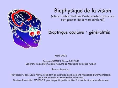 Dioptrique oculaire : généralités Mars 2002 Jacques SIMON, Pierre PAYOUX Laboratoire de Biophysique, Faculté de Médecine Toulouse Purpan Remerciements.