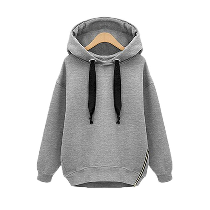 Winter Autumn  Fashion Women Long Sleeve Hooded Jacket Loose Warm Hoodies Solid Sweatshirt Plus Size 3 Colors - Gray Short, L What a beautiful image Visit our store