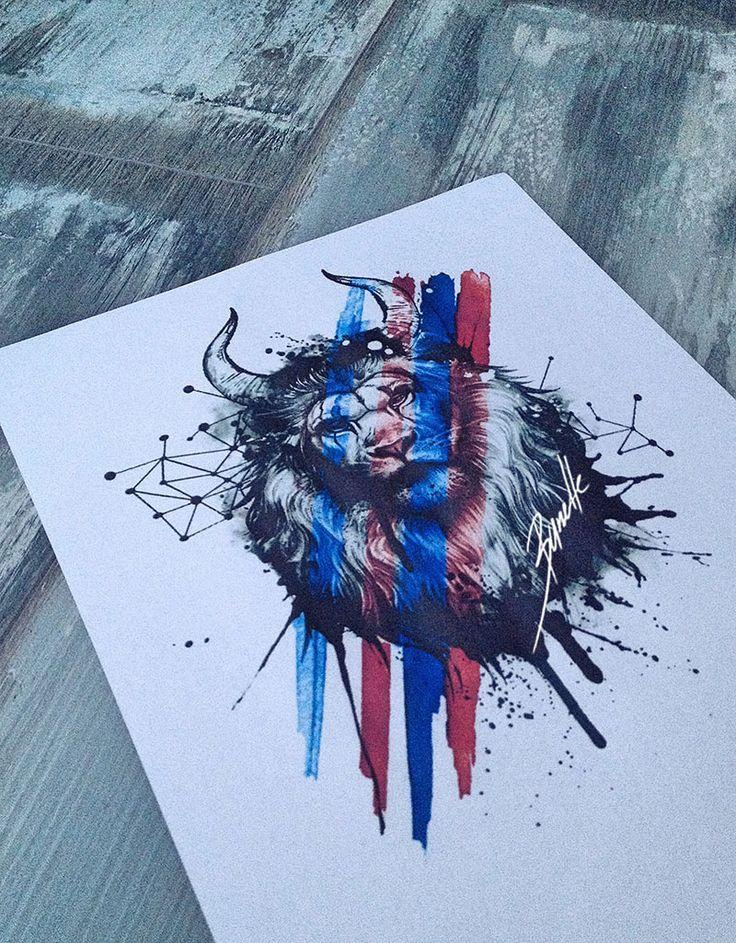lion tattoo geometric red trash polka abstract blue