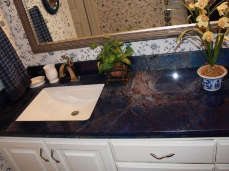 Bathroom Renovation - TruStone vanity counter top in Blue Sodalite and square undermount sink.