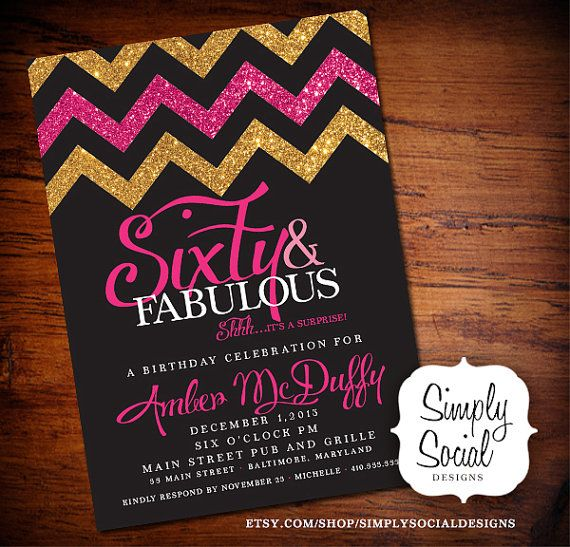 60th Birthday Party Invitation Sixty And Fabulous Surprise With