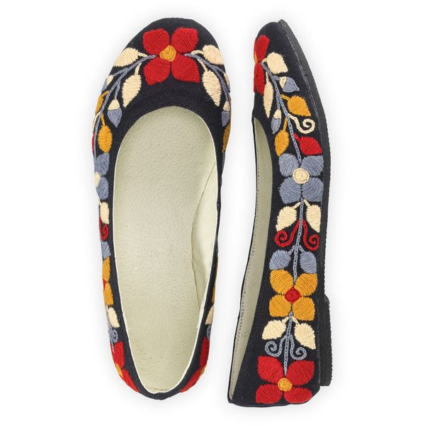 Winter Floral Hand Embroidered Ballet Flats ($70) ❤ liked on Polyvore