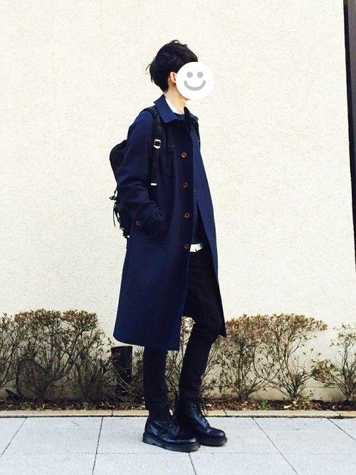 丈の長いコートが最近好きです。 コート: L ニット: L シャツ: L パンツ: 30inch ブ