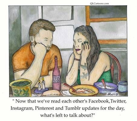 """Screen reader version:  A man and woman stare glumly at each other during dinner: """"Now that we've read each other's Facebook, Twitter, Instagram, Pinterest and Tumblr updates for the day, what's left to talk about?""""   #dating #Facebook #funny #humour #relationship #social media #Twitter"""