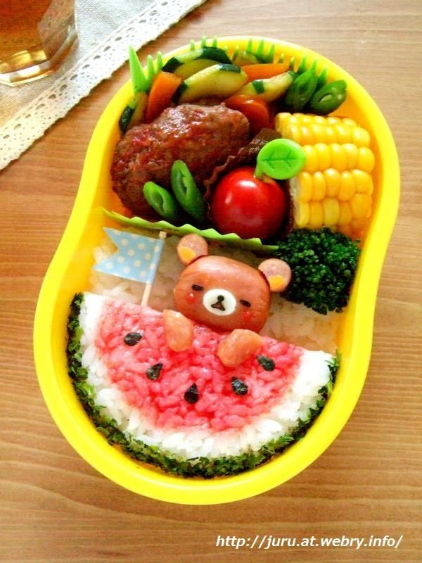 Sleeping rilakkuma on the watermelon bento