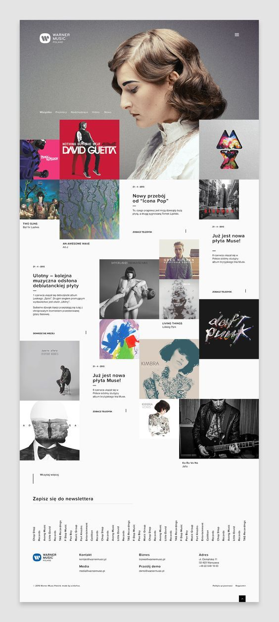 In Summer 2015, together with Sixforfive Agency I had the opportunity to work on the new website for Warner Music Poland.: