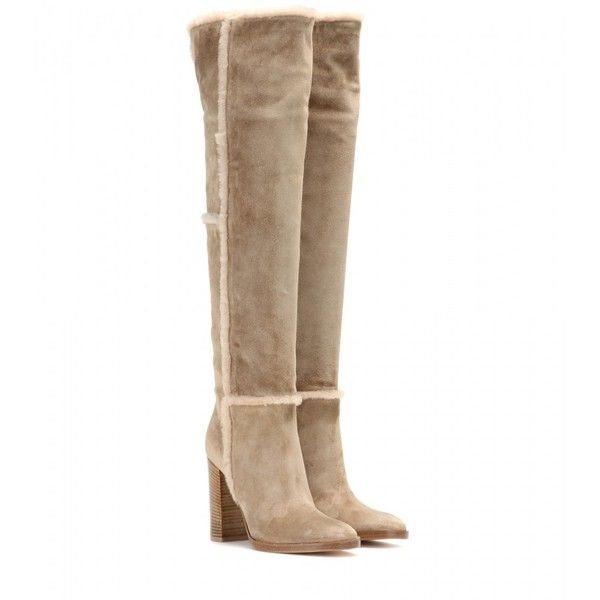 Gianvito Rossi Over-the-Knee Suede Shearling Boots ($1,340) ❤ liked on Polyvore featuring shoes, boots, beige, gianvito rossi, over knee boots, overknee boots, above-knee boots and over the knee suede boots