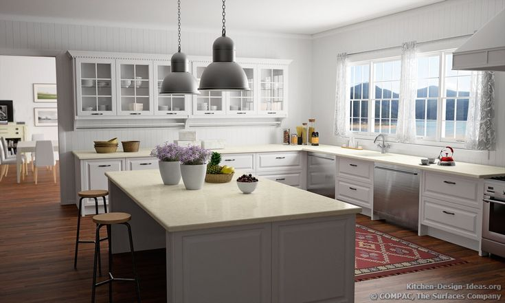 A Traditional White Kitchen with a Lake-Front View and Compac Quartz Countertops #13 (Compac.us, Kitchen-Design-Ideas.org)