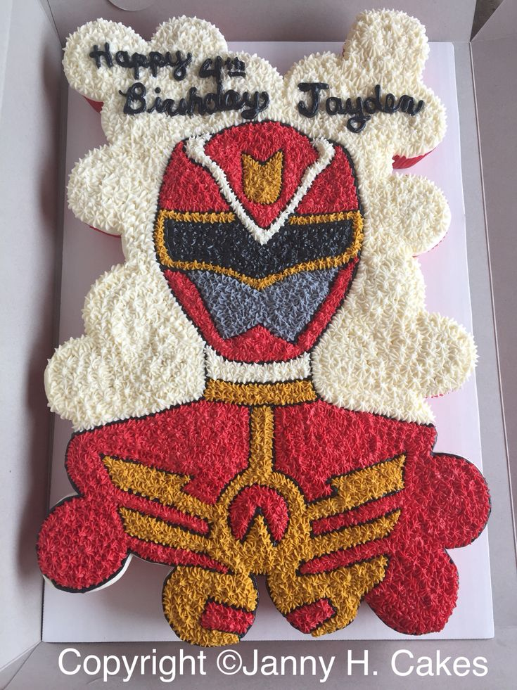 Power ranger cupcake cake  Red power ranger cake