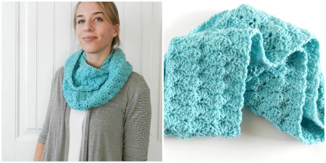 Crochet Scarf Patterns Worsted Weight : Shell Stitch Crochet Infinity Scarf using red heart super ...