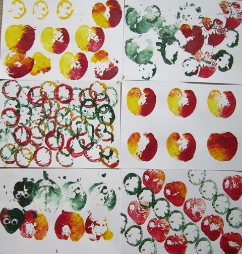 Pear, pepper and apple printing...