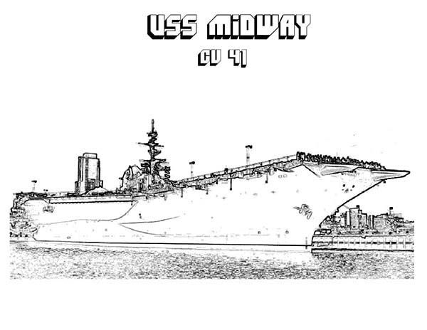 Cv 41 Midway Aircraft Carrier Ship Coloring Pages Aircraft