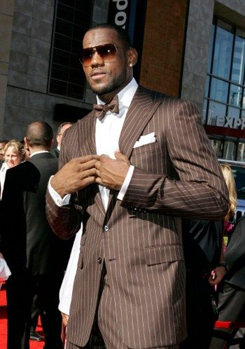 LeBron James rocking the bow tie...Straight Gangsta!... I'm feeling the rich brown color.