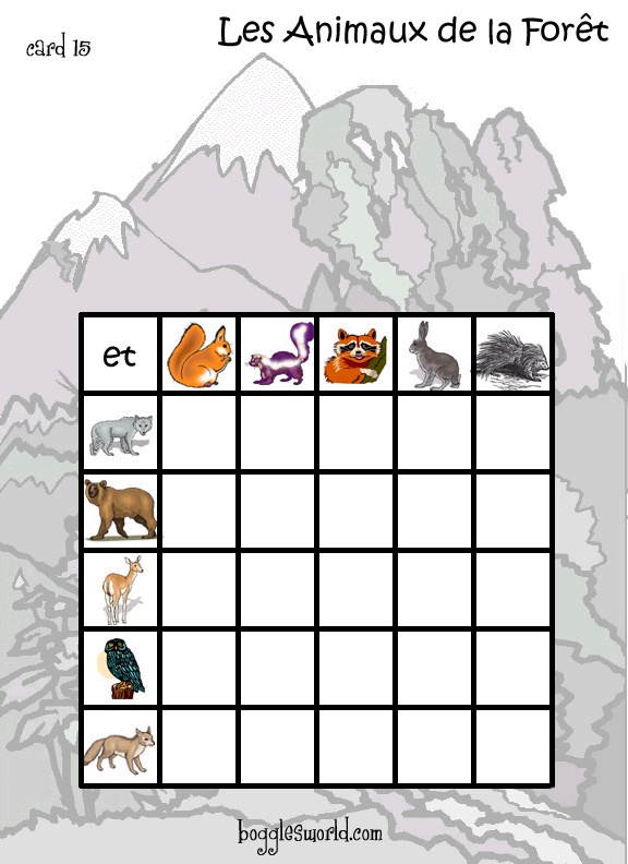 "an animal bingo game online :this one actually has a really cool twist to it. Students use the conjunction ""et"" to identify the squares by combining two animals.  Very cute too!    http://bogglesworldesl.com/french/bingo_animaux.htm"