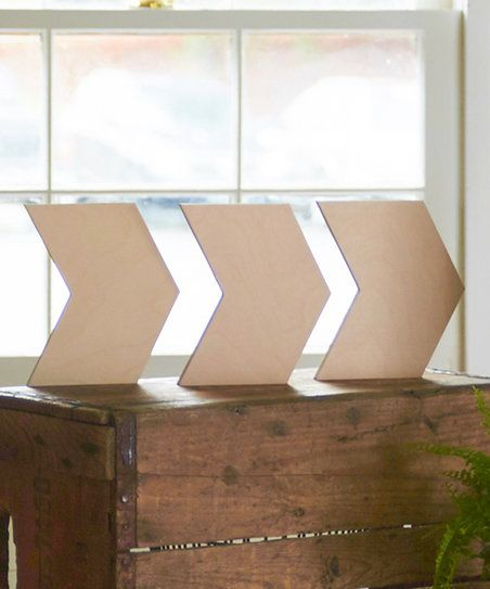 Unfinished Wood Co. Unfinished Chevron Arrow Wall Art - Set of Three | zulily