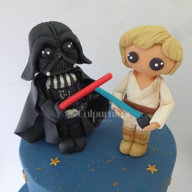 Star Wars Darth Vader and Luke Skywalker fondant topper