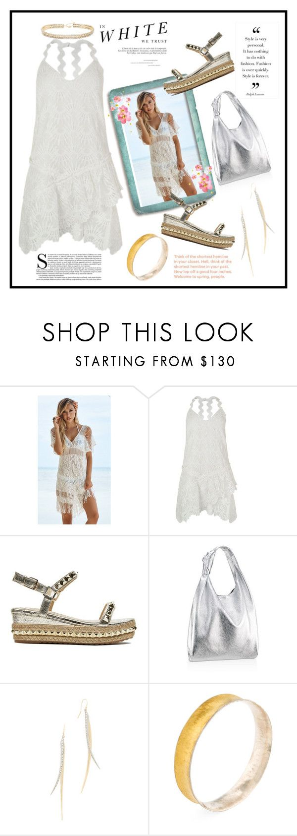 """Summer Dress...By the Sea"" by onesweetthing ❤ liked on Polyvore featuring Madara, Beach Bunny, Three Floor, Loeffler Randall, Alexis Bittar, Gurhan, ABS by Allen Schwartz, christianlouboutin, whitedress and summerdresses"