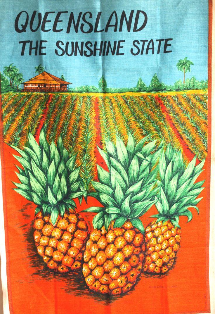 Queensland The Sunshine State Souvenir Linen Tea Towel Gorgeous! - 50s 60s Pure Linen Pineapple Farm Tea Towel - New Old Stock by FunkyKoala on Etsy