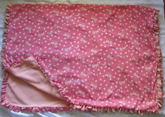 Large and cozy Bunny fleece tie blanket/throw by BriersBlankets