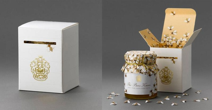 #creative packaging: the Bees Knees Designed by Terence KitchingDesign Collection, Honey Packaging, Packaging Design, Bees Include, Honey Jars, Bees Knee, Creative Packaging, Knee Design, Honey Bees