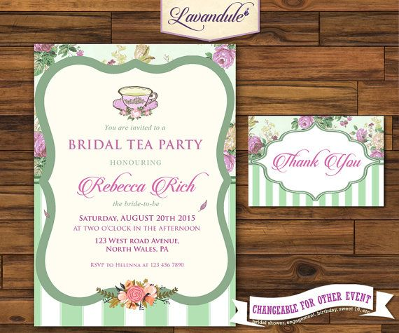 Bridal Tea Party Sage Green W/ Thank You Card_inv_010 by Lavandule