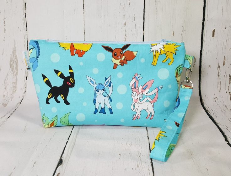 Pokemon Bag, Pokemon Zipper bag, Knitting Project Bag, Small Zippered Wedge Bag…