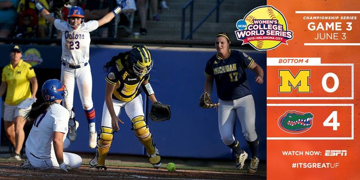 The Gators scored three runs in the first inning, the first by leadoff hitter Kelsey Stewart on an RBI single by Haeger - her team-leading seventh RBI during the WCWS.