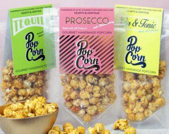 Prosecco, palomitas de maíz de Gin. alcohólicas las palomitas de maíz, regalo para el amigo. Aperitivos de gourmet.