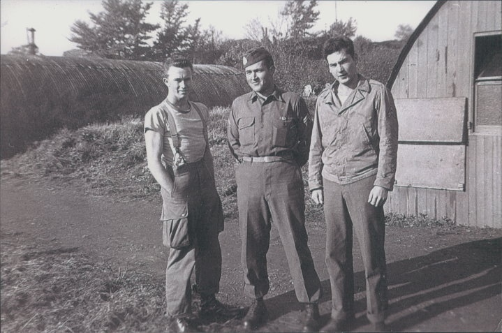 l-r: Pat Christenson, Bull Randleman and Bill Dukeman before Normandy