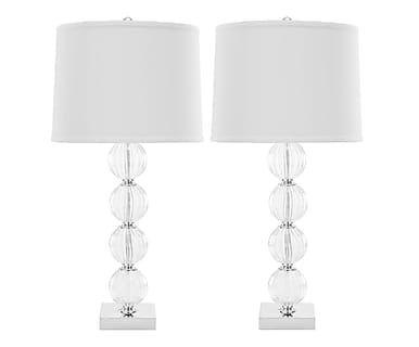 Set di 2 lampade da tavolo in metallo e cotone