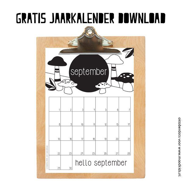 Jaarkalender downloaden september - Moodkids | Moodkids