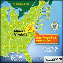 <p>Tremors spread from the quake's epicenter as far north as New York and Pennsylvania. (Jim McMahon)</p> | Earthquake article to have students read questions in another pin