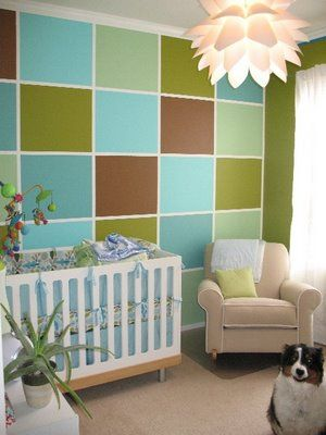 interesting wall in baby's room: Guest Room, Color Blocking, Wall Painting, Baby Rooms, Boys Room, Accent Walls
