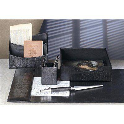Dessau Home N123 Black Leather Crock Embossed Desk Blotter