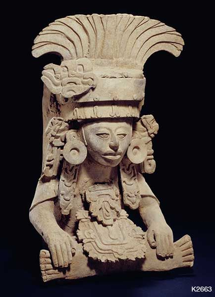 Zapotec. clay. Burial urn with seated elite person. Ht 51.8 cm. Pubklished 1985 Precolumbian Masterpieces, Edward H. Merrin Gallery p.34