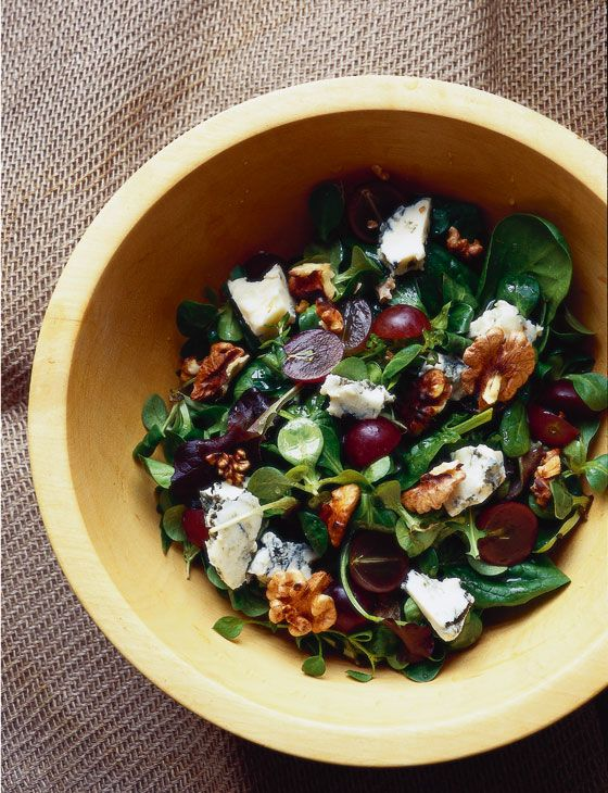 Grape, Gorgonzola and walnut salad - Sainsbury's Magazine.  Be prepared to convert British measurements to American ones if necessary.   Protein:  Cheese, walnuts.