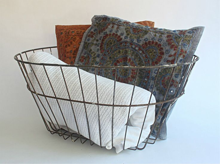 Basket with Cushions and Throws