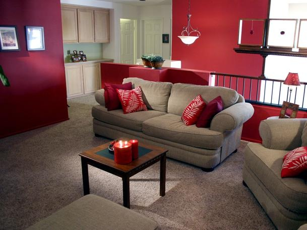 Burgundy Walls And A Tan Light Couch Combo