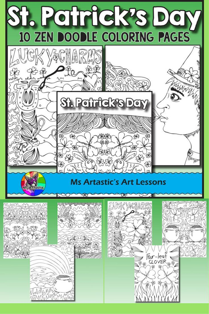 10 zentangle, doodle coloring pages to celebrate St. Patrick's Day in your classroom. Mindful, zen, coloring sheets for all ages. All 10 pages are hand drawn by Ms Artastic. These coloring sheets are very detailed and are a great way to get into the theme of St. Patrick's Day in your classroom.