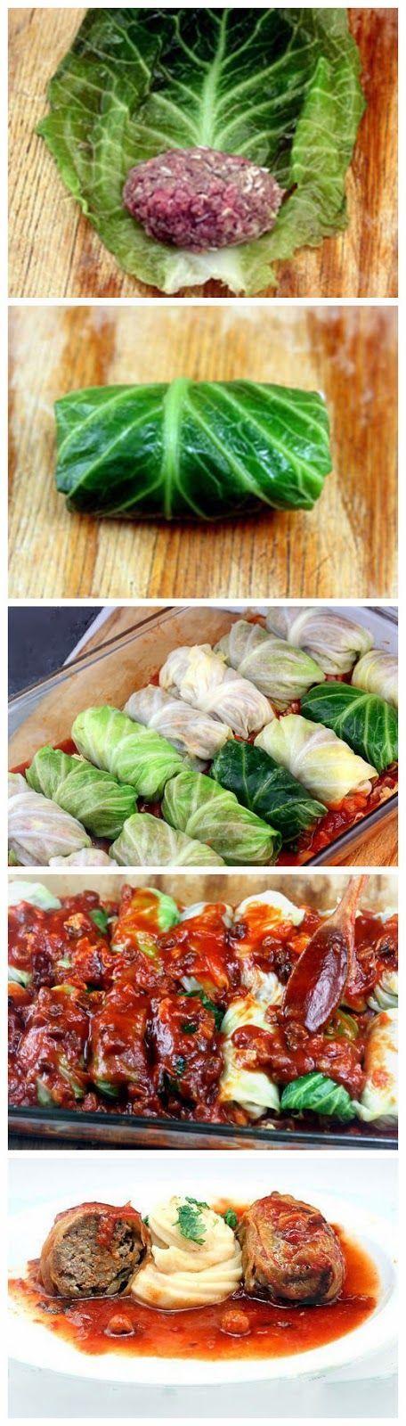 Amazing Stuffed Cabbage Rolls with turkey, chicken or beef ~ yummykey