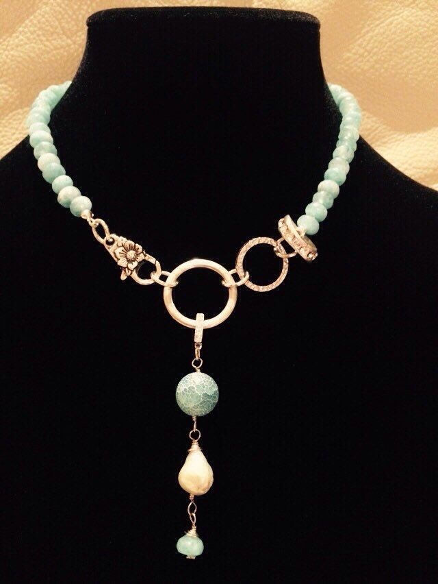A personal favorite from my Etsy shop https://www.etsy.com/au/listing/254194227/aqua-quartz-and-agate-necklace-on-silver