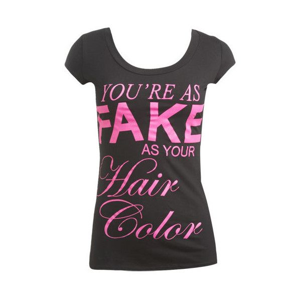 Fake Hair Tee - Teen Clothing by Wet Seal ($5) ❤ liked on Polyvore
